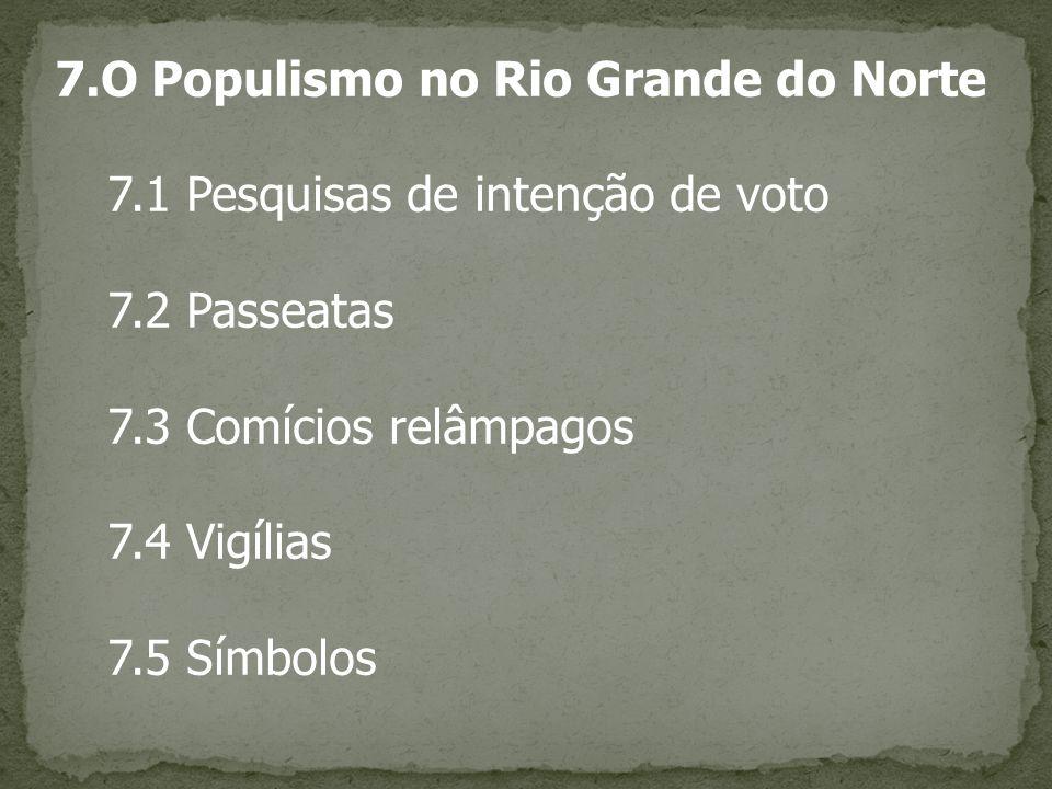 7.O Populismo no Rio Grande do Norte 7.1 Pesquisas de intenção de voto 7.2 Passeatas 7.3 Comícios relâmpagos 7.4 Vigílias 7.5 Símbolos