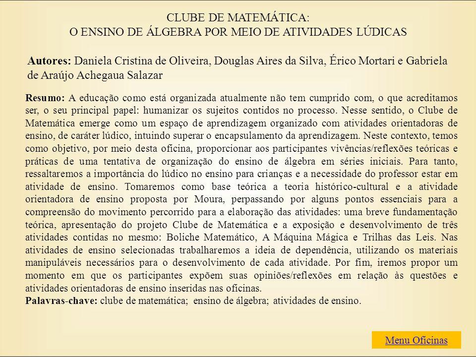 Autores: Daniela Cristina de Oliveira, Douglas Aires da Silva, Érico Mortari e Gabriela de Araújo Achegaua Salazar Resumo: A educação como está organi