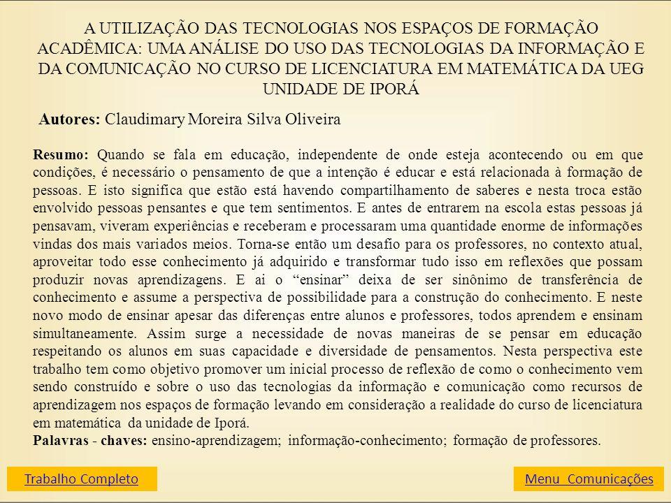 A UTILIZAÇÃO DAS TECNOLOGIAS NOS ESPAÇOS DE FORMAÇÃO ACADÊMICA: UMA ANÁLISE DO USO DAS TECNOLOGIAS DA INFORMAÇÃO E DA COMUNICAÇÃO NO CURSO DE LICENCIA