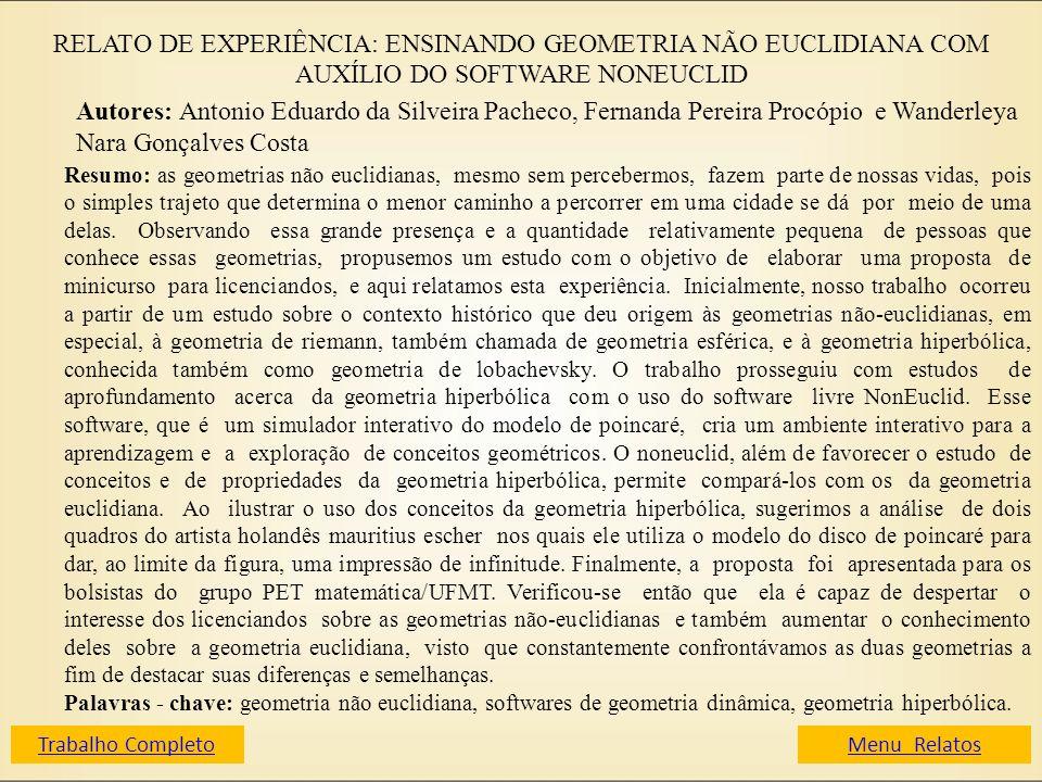 RELATO DE EXPERIÊNCIA: ENSINANDO GEOMETRIA NÃO EUCLIDIANA COM AUXÍLIO DO SOFTWARE NONEUCLID Autores: Antonio Eduardo da Silveira Pacheco, Fernanda Per