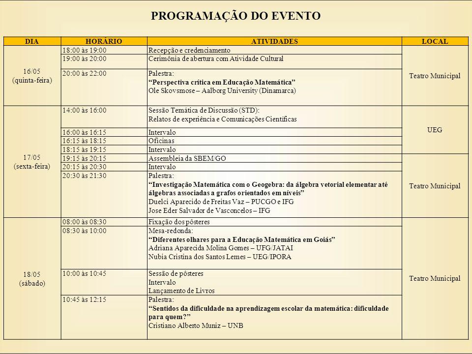 PROGRAMAÇÃO DO EVENTO DIAHORÁRIOATIVIDADESLOCAL 16/05 (quinta-feira) 18:00 às 19:00Recepção e credenciamento Teatro Municipal 19:00 às 20:00Cerimônia