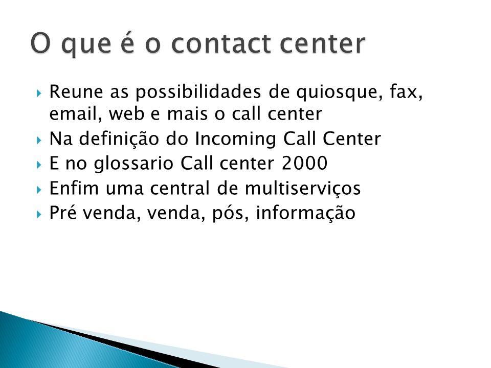 Reune as possibilidades de quiosque, fax, email, web e mais o call center Na definição do Incoming Call Center E no glossario Call center 2000 Enfim u