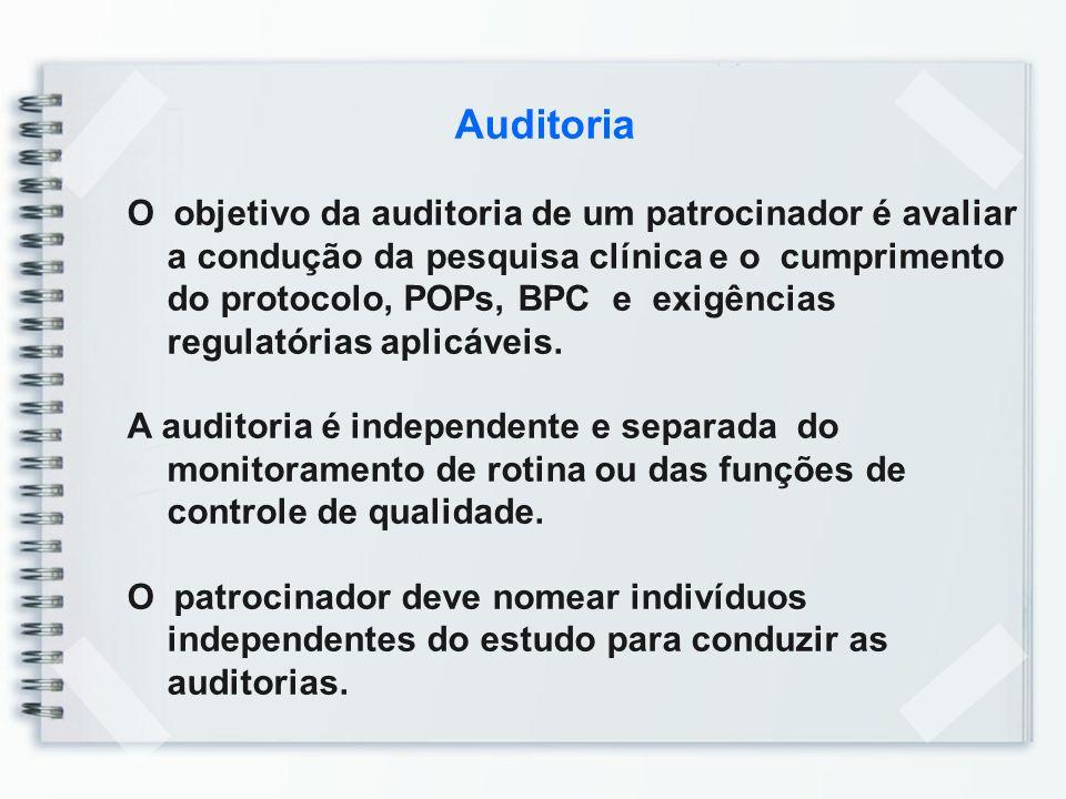 Auditoria O objetivo da auditoria de um patrocinador é avaliar a condução da pesquisa clínica e o cumprimento do protocolo, POPs, BPC e exigências reg