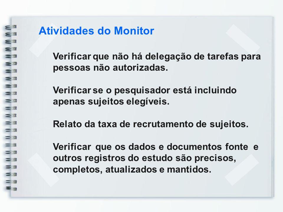 Atividades do Monitor Verificar que não há delegação de tarefas para pessoas não autorizadas. Verificar se o pesquisador está incluindo apenas sujeito