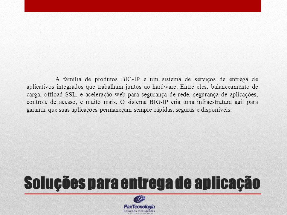 Soluções para entrega de aplicação A família de produtos BIG-IP é um sistema de serviços de entrega de aplicativos integrados que trabalham juntos ao