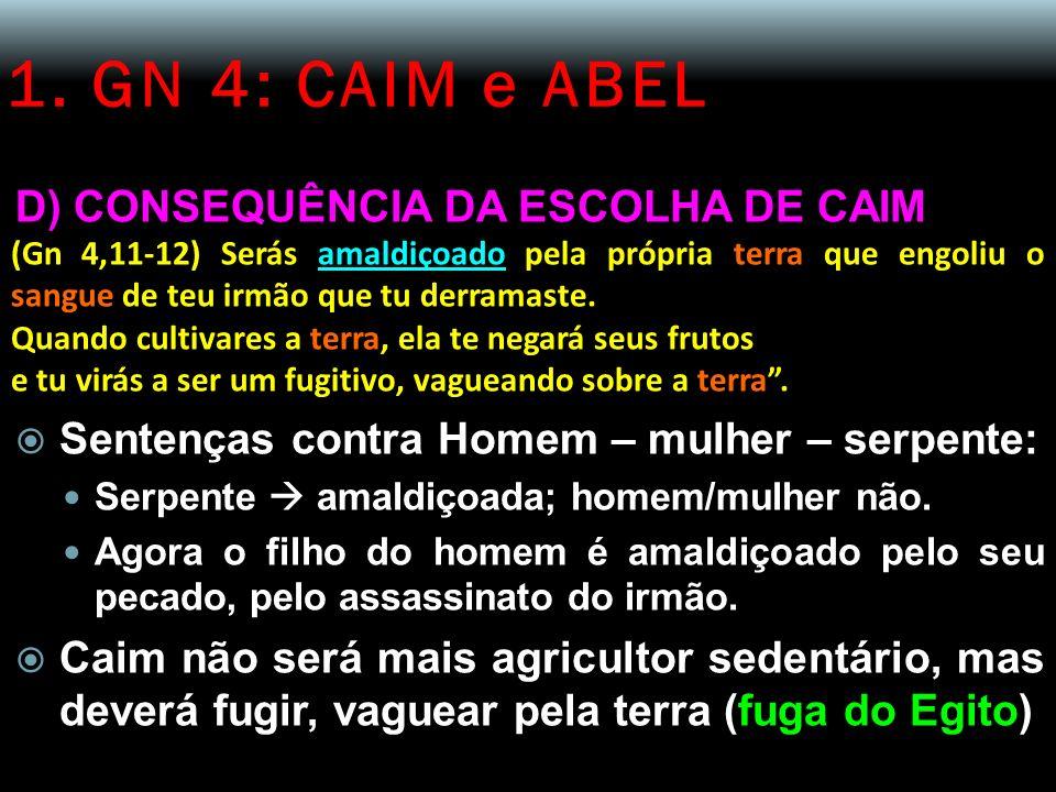 1. GN 4: CAIM e ABEL D) CONSEQUÊNCIA DA ESCOLHA DE CAIM (Gn 4,11-12) Serás amaldiçoado pela própria terra que engoliu o sangue de teu irmão que tu der