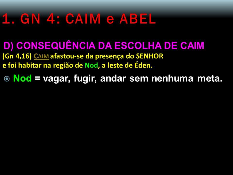 1. GN 4: CAIM e ABEL D) CONSEQUÊNCIA DA ESCOLHA DE CAIM (Gn 4,16) C AIM afastou-se da presença do SENHOR e foi habitar na região de Nod, a leste de Éd
