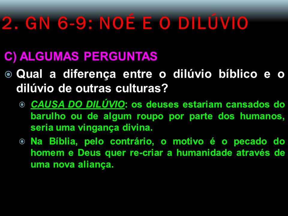 2. GN 6-9: NOÉ E O DILÚVIO C) ALGUMAS PERGUNTAS Qual a diferença entre o dilúvio bíblico e o dilúvio de outras culturas? CAUSA DO DILÚVIO: os deuses e