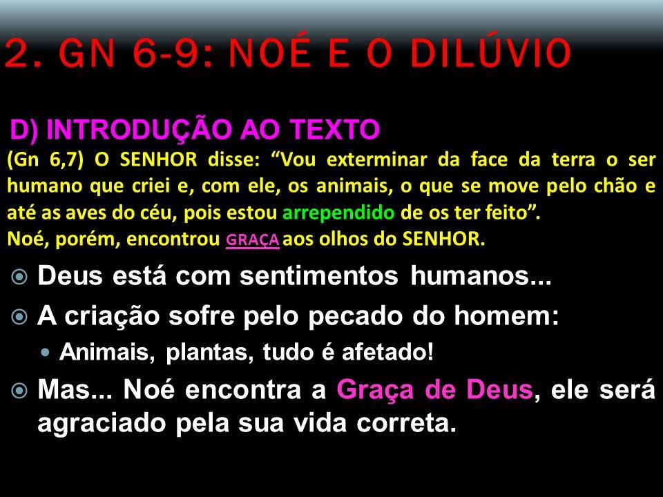 2. GN 6-9: NOÉ E O DILÚVIO D) INTRODUÇÃO AO TEXTO (Gn 6,7) O SENHOR disse: Vou exterminar da face da terra o ser humano que criei e, com ele, os anima