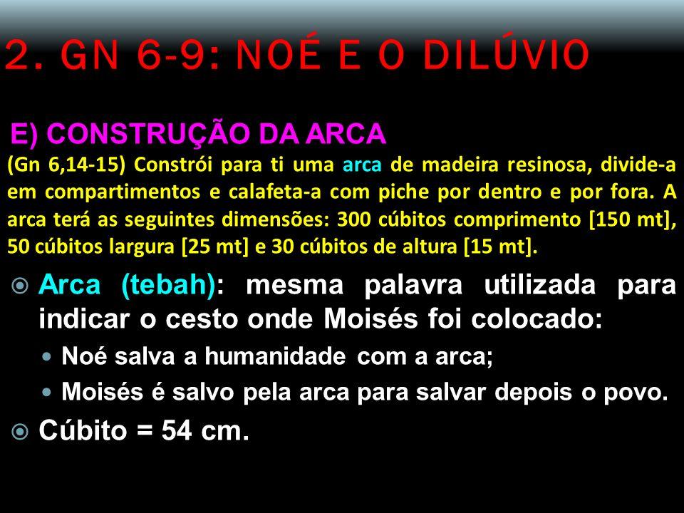 2. GN 6-9: NOÉ E O DILÚVIO E) CONSTRUÇÃO DA ARCA (Gn 6,14-15) Constrói para ti uma arca de madeira resinosa, divide-a em compartimentos e calafeta-a c