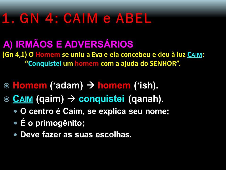 1. GN 4: CAIM e ABEL A) IRMÃOS E ADVERSÁRIOS (Gn 4,1) O Homem se uniu a Eva e ela concebeu e deu à luz C AIM : Conquistei um homem com a ajuda do SENH