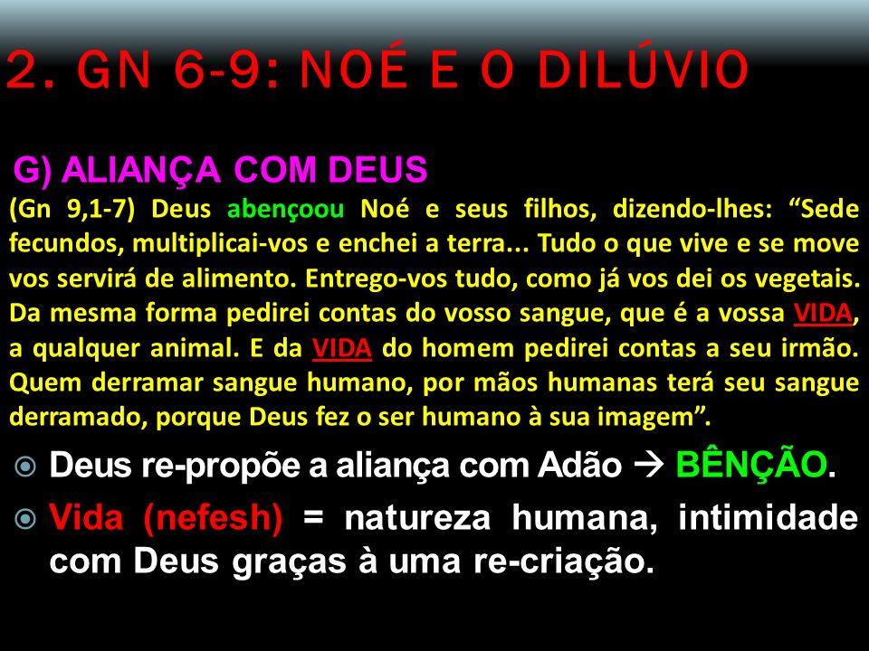2. GN 6-9: NOÉ E O DILÚVIO G) ALIANÇA COM DEUS (Gn 9,1-7) Deus abençoou Noé e seus filhos, dizendo-lhes: Sede fecundos, multiplicai-vos e enchei a ter
