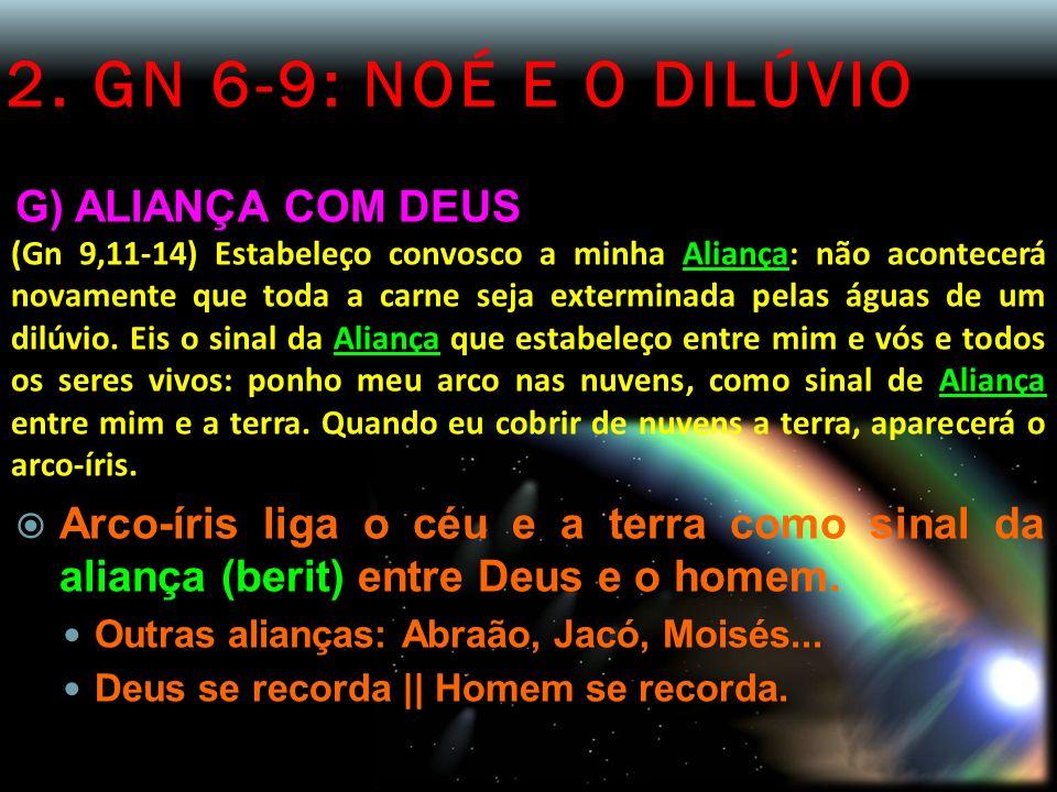 2. GN 6-9: NOÉ E O DILÚVIO G) ALIANÇA COM DEUS (Gn 9,11-14) Estabeleço convosco a minha Aliança: não acontecerá novamente que toda a carne seja exterm