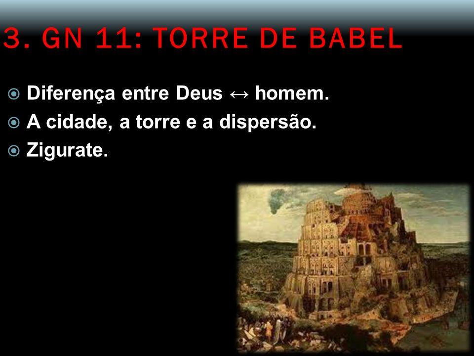 3. GN 11: TORRE DE BABEL Diferença entre Deus homem. A cidade, a torre e a dispersão. Zigurate.