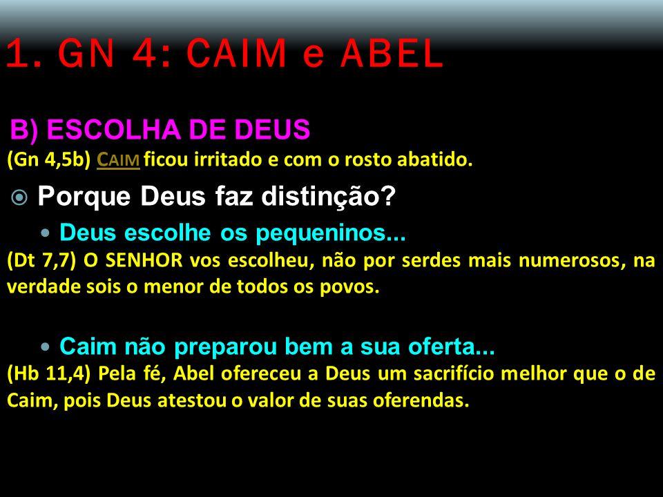 1. GN 4: CAIM e ABEL B) ESCOLHA DE DEUS (Gn 4,5b) C AIM ficou irritado e com o rosto abatido. Porque Deus faz distinção? Deus escolhe os pequeninos...