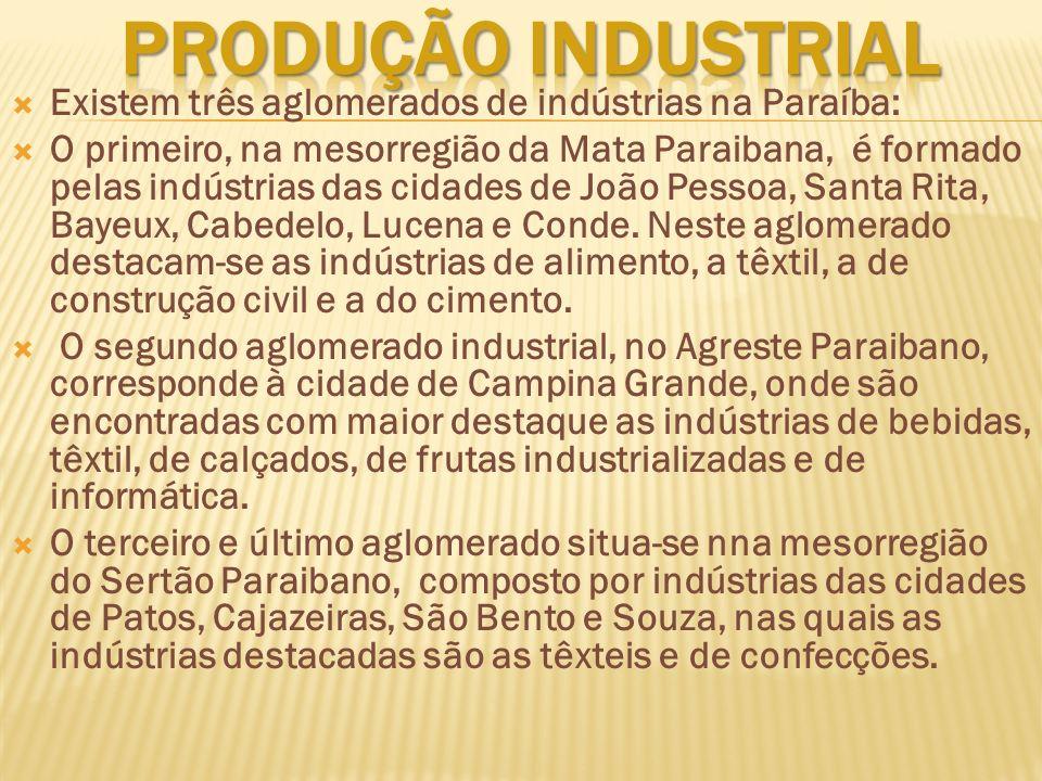 Existem três aglomerados de indústrias na Paraíba: O primeiro, na mesorregião da Mata Paraibana, é formado pelas indústrias das cidades de João Pessoa