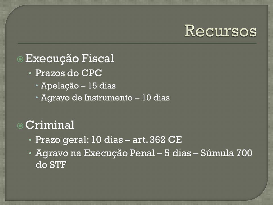 Execução Fiscal Prazos do CPC Apelação – 15 dias Agravo de Instrumento – 10 dias Criminal Prazo geral: 10 dias – art. 362 CE Agravo na Execução Penal
