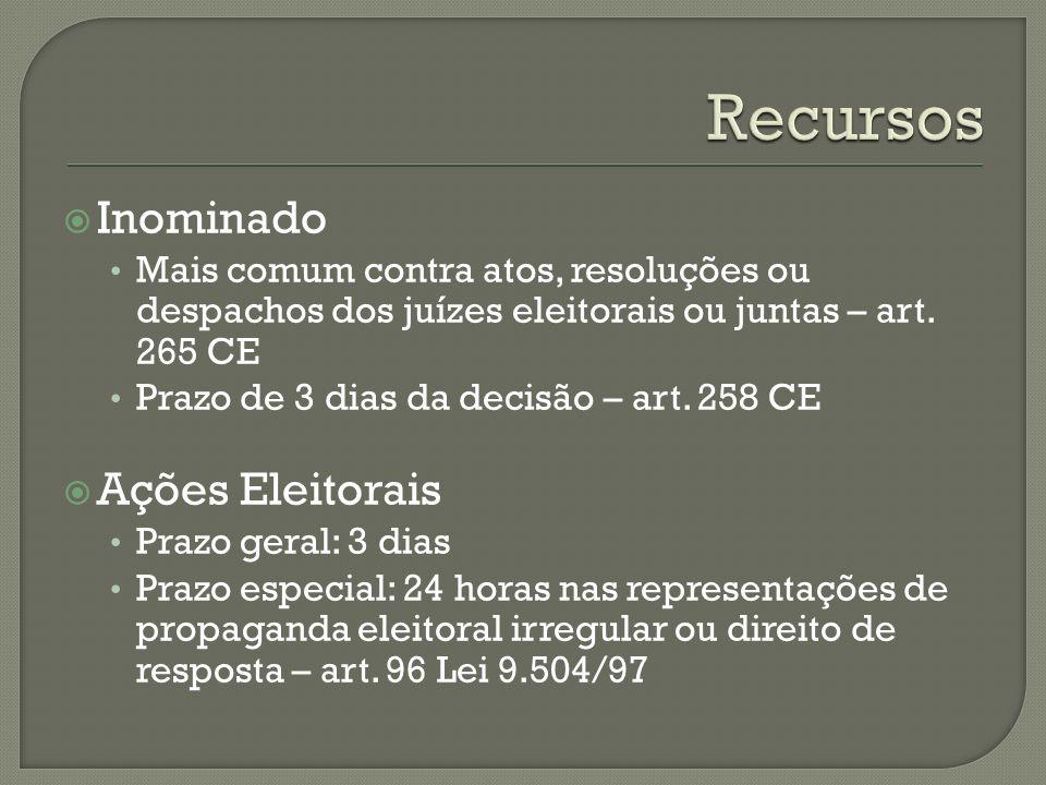 Tribunais Regionais Prazo de 3 dias da publicação do acórdão ou sessão de diplomação – art.