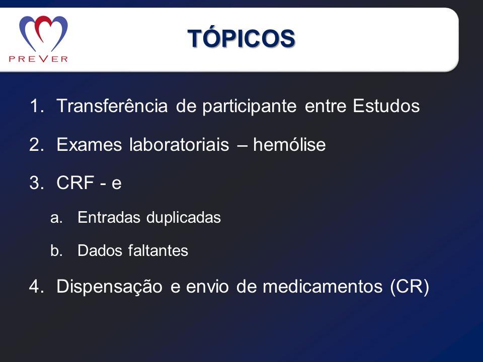 TÓPICOS 1.Transferência de participante entre Estudos 2.Exames laboratoriais – hemólise 3.CRF - e a.Entradas duplicadas b.Dados faltantes 4.Dispensaçã