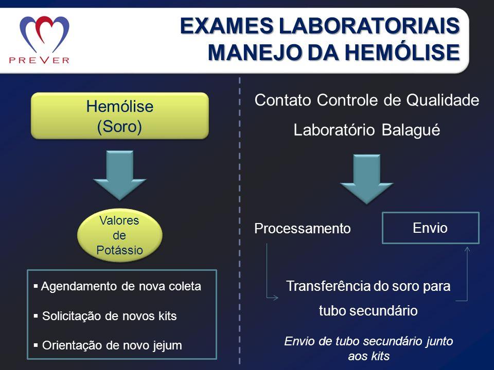 EXAMES LABORATORIAIS MANEJO DA HEMÓLISE Hemólise (Soro) Hemólise (Soro) Valores de Potássio Agendamento de nova coleta Solicitação de novos kits Orien