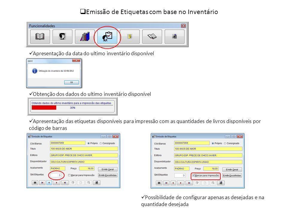 Emissão de Etiquetas com base no Inventário Apresentação da data do ultimo inventário disponível Obtenção dos dados do ultimo inventário disponível Ap