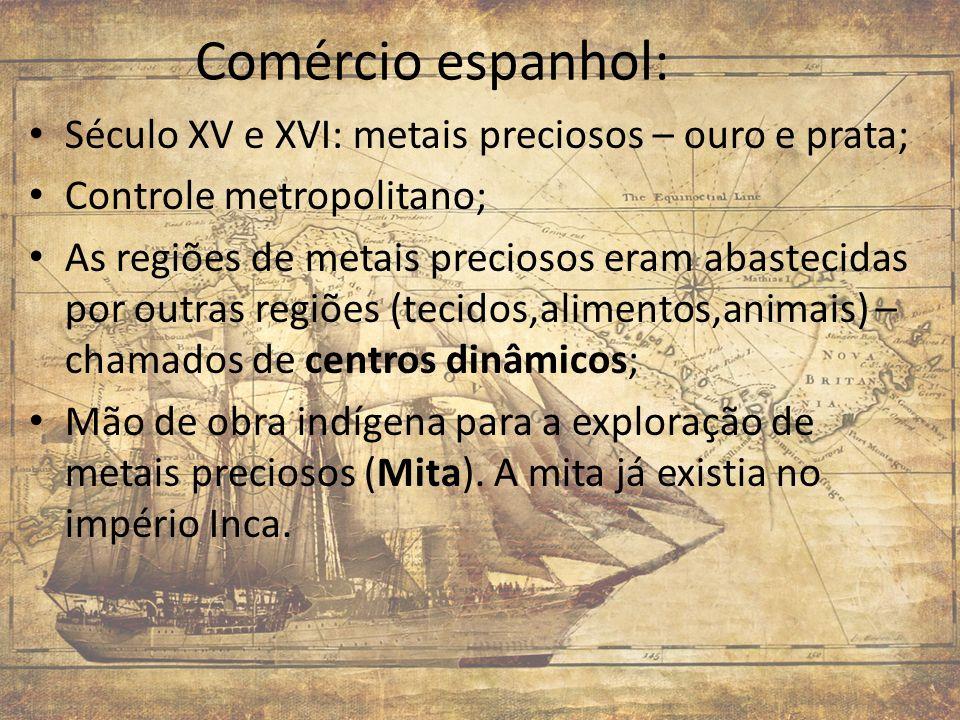 Comércio espanhol: Século XV e XVI: metais preciosos – ouro e prata; Controle metropolitano; As regiões de metais preciosos eram abastecidas por outra
