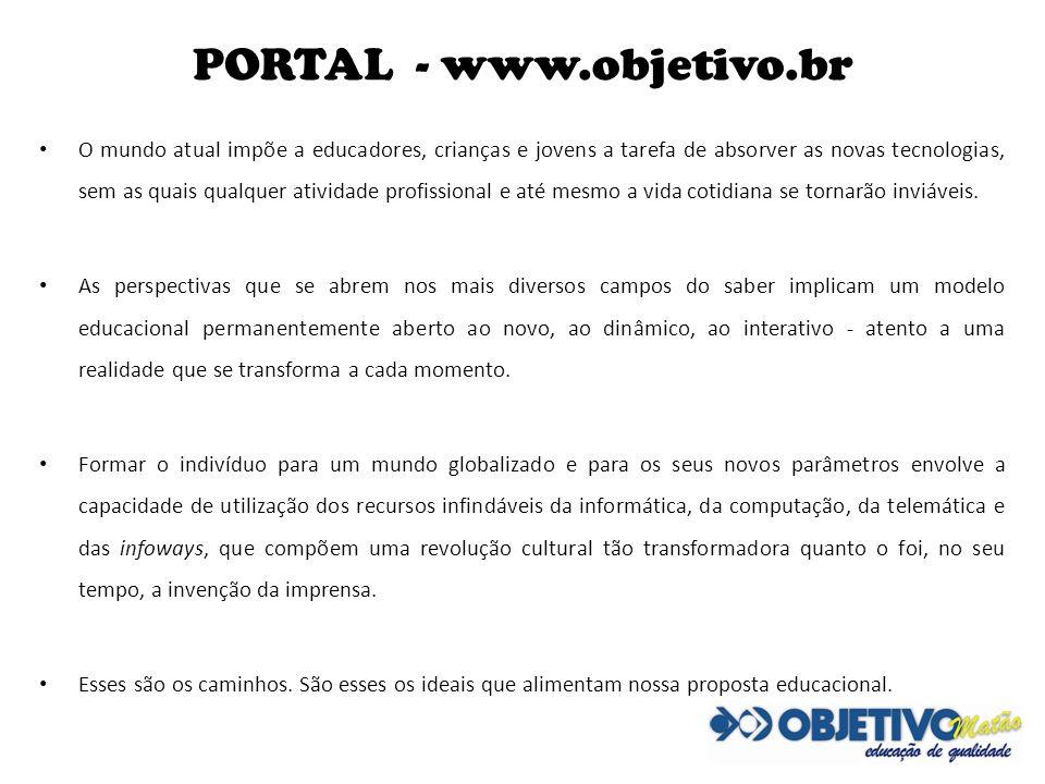 PORTAL - www.objetivo.br O mundo atual impõe a educadores, crianças e jovens a tarefa de absorver as novas tecnologias, sem as quais qualquer atividad