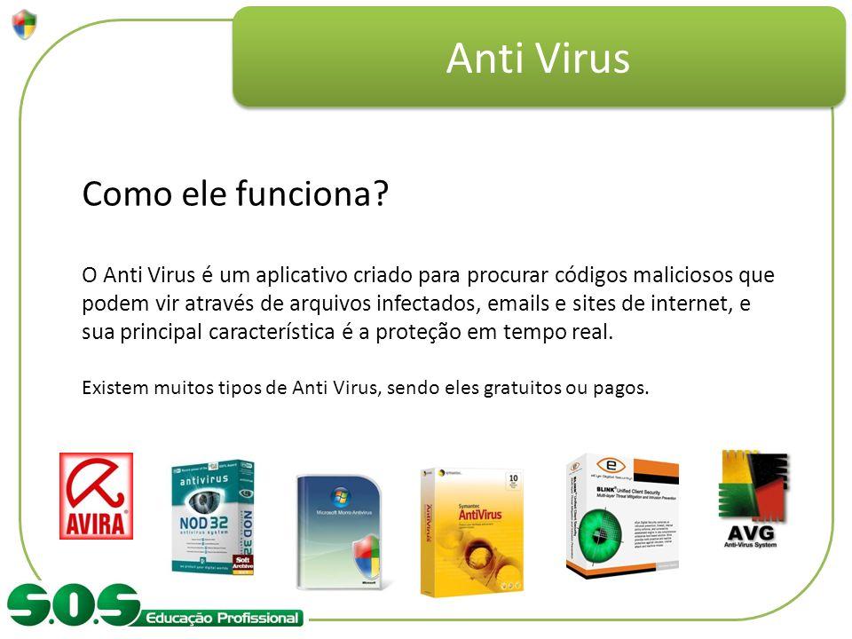 Anti Virus Como ele funciona? O Anti Virus é um aplicativo criado para procurar códigos maliciosos que podem vir através de arquivos infectados, email