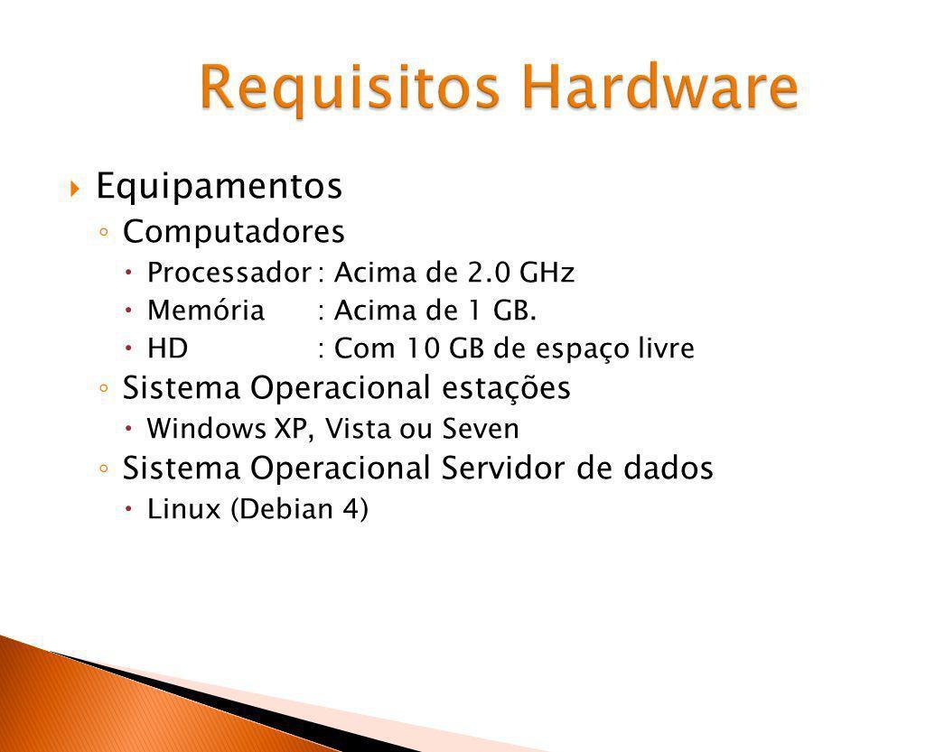 Equipamentos Computadores Processador: Acima de 2.0 GHz Memória: Acima de 1 GB. HD: Com 10 GB de espaço livre Sistema Operacional estações Windows XP,