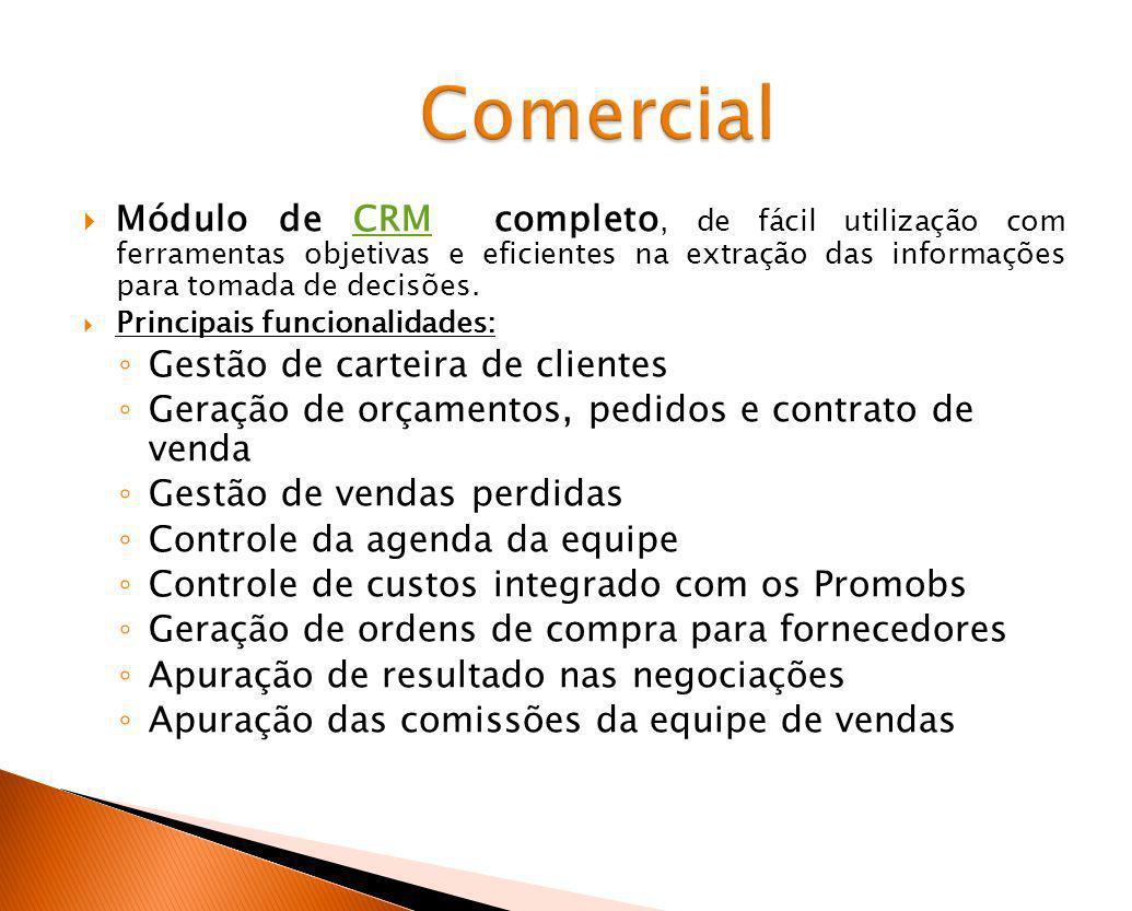 Módulo de CRM completo, de fácil utilização com ferramentas objetivas e eficientes na extração das informações para tomada de decisões.CRM Principais