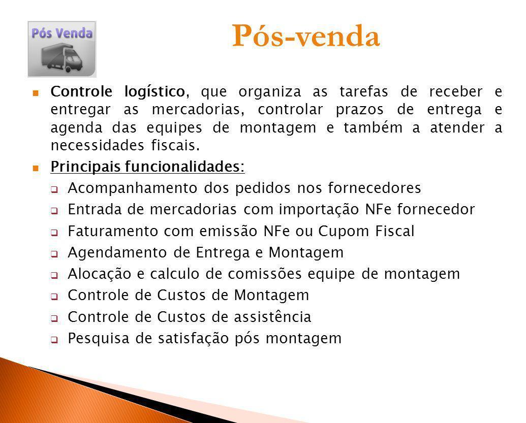 Pós-venda Controle logístico, que organiza as tarefas de receber e entregar as mercadorias, controlar prazos de entrega e agenda das equipes de montag
