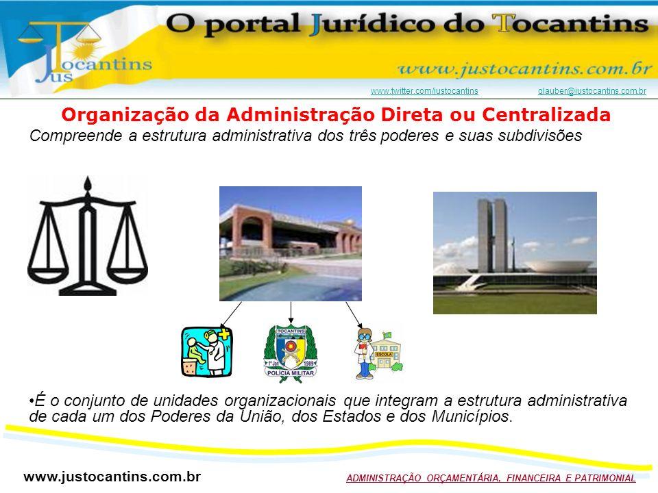 www.justocantins.com.br ADMINISTRAÇÃO ORÇAMENTÁRIA, FINANCEIRA E PATRIMONIAL www.twitter.com/justocantinswww.twitter.com/justocantins glauber@justocantins.com.brglauber@justocantins.com.br Organização da Administração Direta ou Centralizada Compreende a estrutura administrativa dos três poderes e suas subdivisões É o conjunto de unidades organizacionais que integram a estrutura administrativa de cada um dos Poderes da União, dos Estados e dos Municípios.