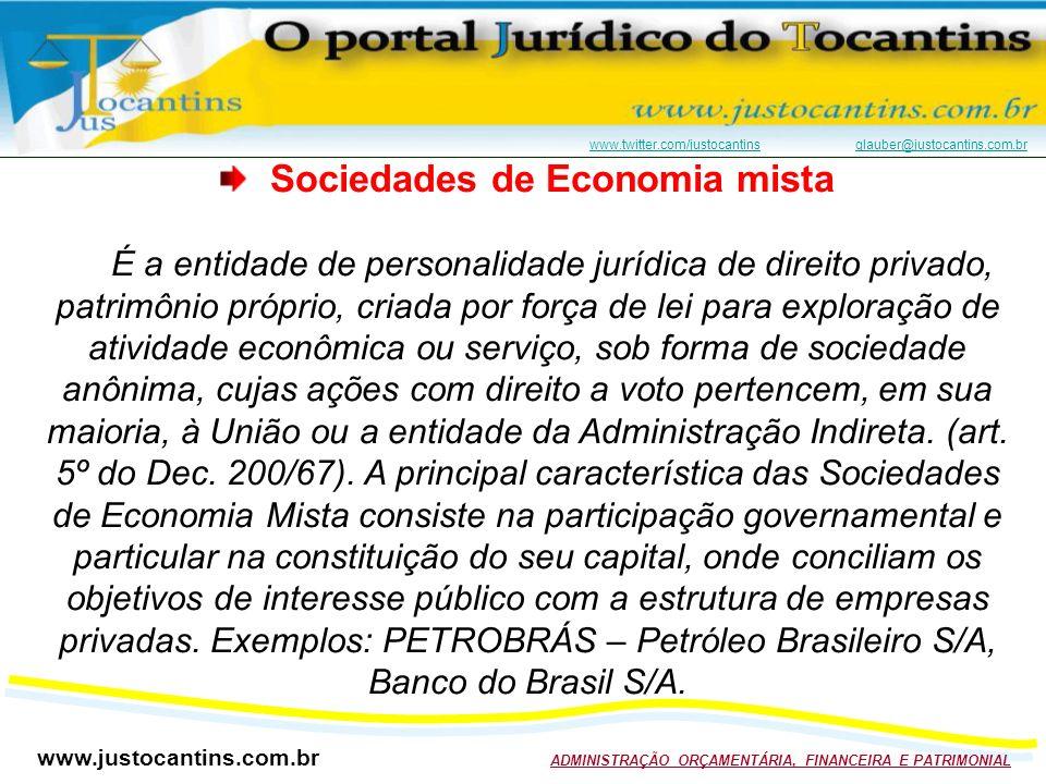 www.justocantins.com.br ADMINISTRAÇÃO ORÇAMENTÁRIA, FINANCEIRA E PATRIMONIAL www.twitter.com/justocantinswww.twitter.com/justocantins glauber@justocantins.com.brglauber@justocantins.com.br Sociedades de Economia mista É a entidade de personalidade jurídica de direito privado, patrimônio próprio, criada por força de lei para exploração de atividade econômica ou serviço, sob forma de sociedade anônima, cujas ações com direito a voto pertencem, em sua maioria, à União ou a entidade da Administração Indireta.