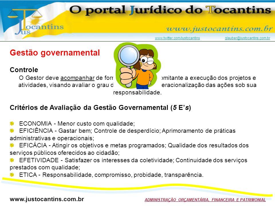 www.justocantins.com.br ADMINISTRAÇÃO ORÇAMENTÁRIA, FINANCEIRA E PATRIMONIAL www.twitter.com/justocantinswww.twitter.com/justocantins glauber@justocantins.com.brglauber@justocantins.com.br Gestão governamental Controle O Gestor deve acompanhar de forma efetiva e concomitante a execução dos projetos e atividades, visando avaliar o grau de eficiência na operacionalização das ações sob sua responsabilidade.