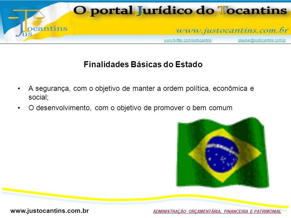 www.justocantins.com.br ADMINISTRAÇÃO ORÇAMENTÁRIA, FINANCEIRA E PATRIMONIAL www.twitter.com/justocantinswww.twitter.com/justocantins glauber@justocantins.com.brglauber@justocantins.com.br Finalidades Básicas do Estado A segurança, com o objetivo de manter a ordem política, econômica e social; O desenvolvimento, com o objetivo de promover o bem comum