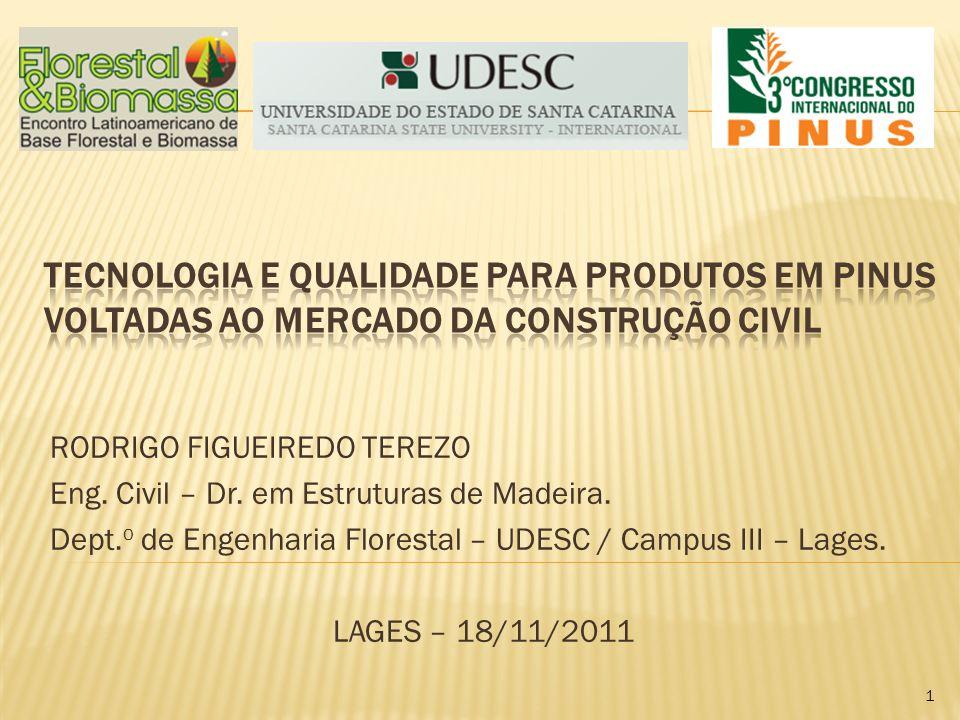 RODRIGO FIGUEIREDO TEREZO Eng. Civil – Dr. em Estruturas de Madeira. Dept. o de Engenharia Florestal – UDESC / Campus III – Lages. LAGES – 18/11/2011