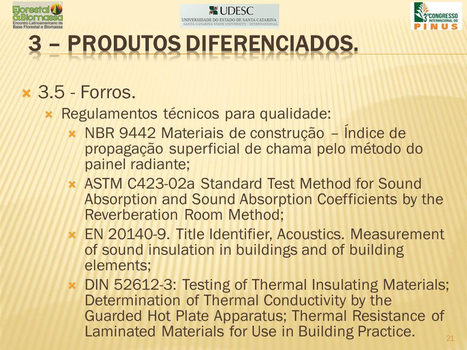 3.5 - Forros. Regulamentos técnicos para qualidade: NBR 9442 Materiais de construção – Índice de propagação superficial de chama pelo método do painel