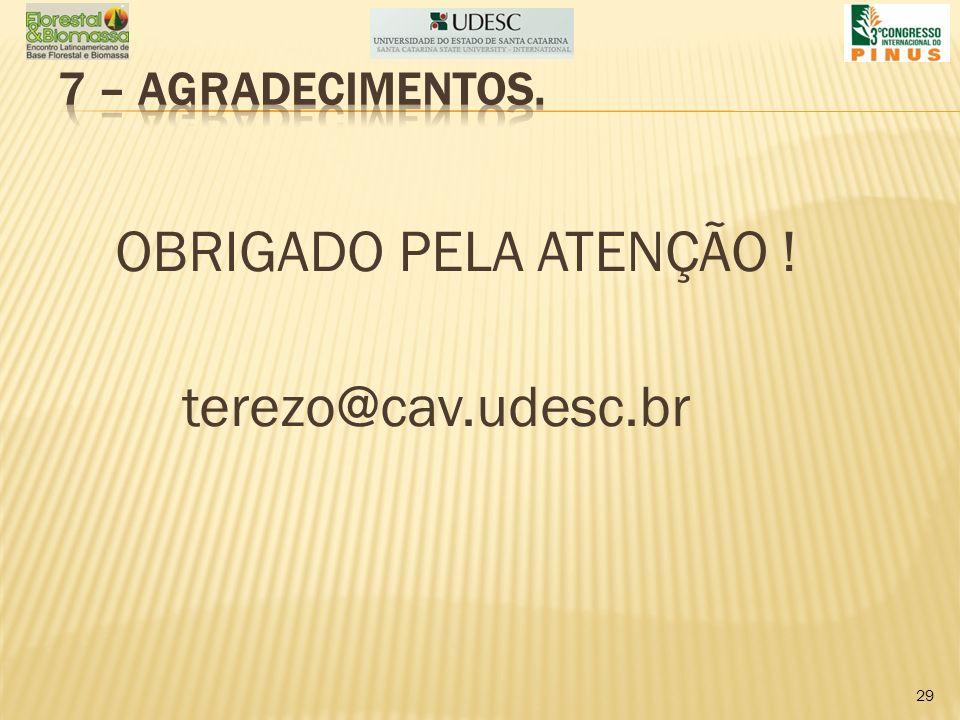OBRIGADO PELA ATENÇÃO ! terezo@cav.udesc.br 29