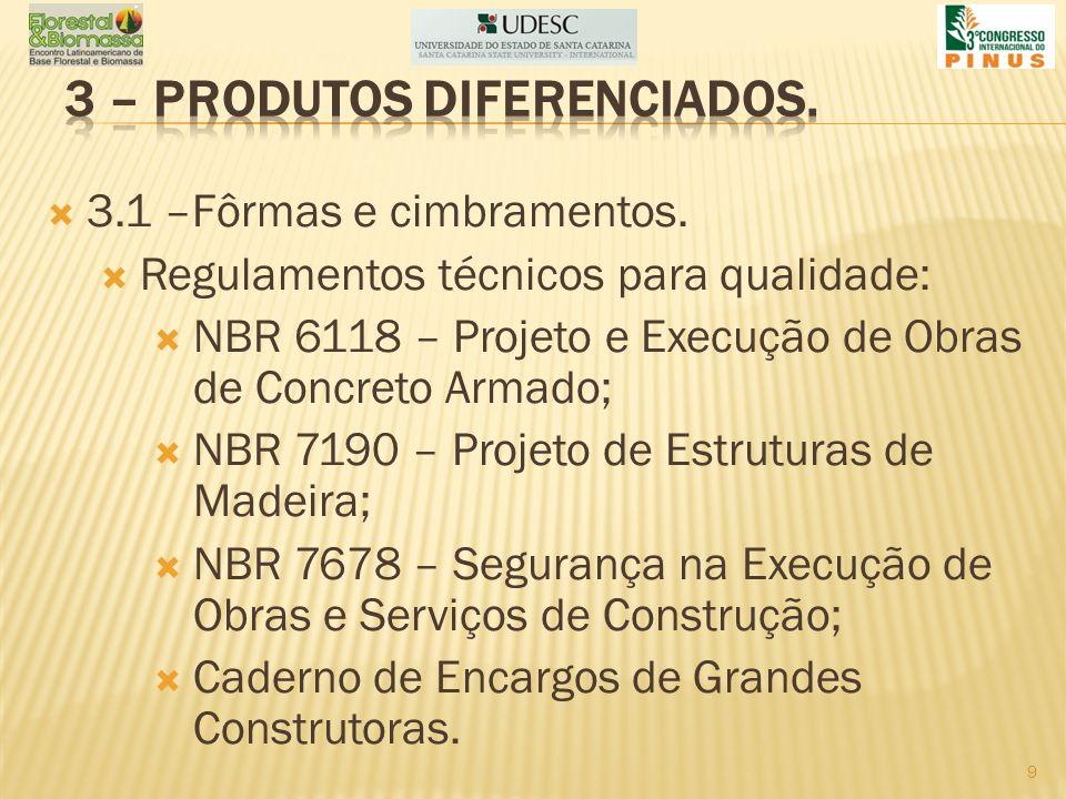 3.1 –Fôrmas e cimbramentos. Regulamentos técnicos para qualidade: NBR 6118 – Projeto e Execução de Obras de Concreto Armado; NBR 7190 – Projeto de Est