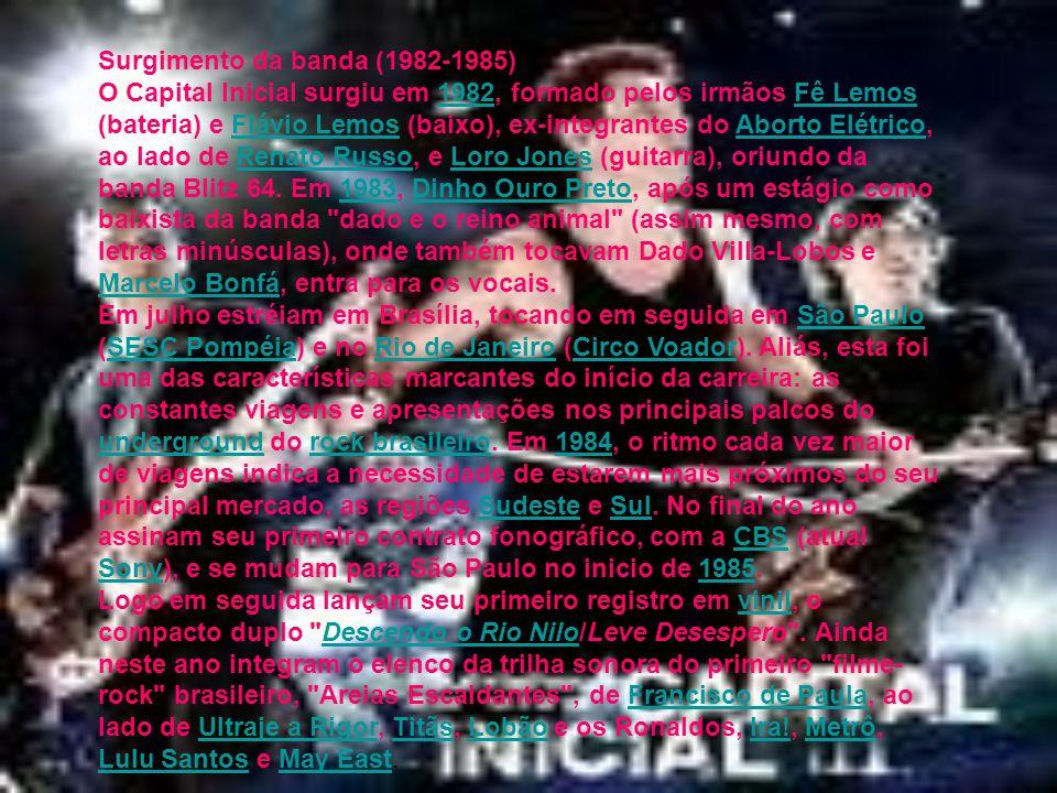 Surgimento da banda (1982-1985) O Capital Inicial surgiu em 1982, formado pelos irmãos Fê Lemos (bateria) e Flávio Lemos (baixo), ex-integrantes do Ab
