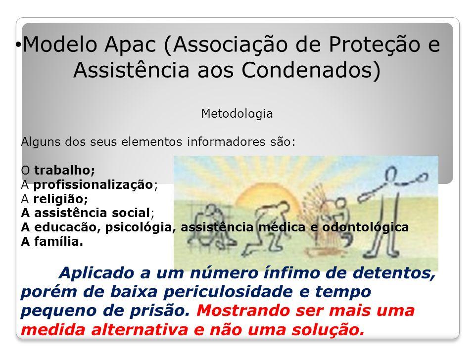 Modelo Apac (Associação de Proteção e Assistência aos Condenados) Metodologia Alguns dos seus elementos informadores são: O trabalho; A profissionalização; A religião; A assistência social; A educacão, psicológia, assistência médica e odontológica A família.