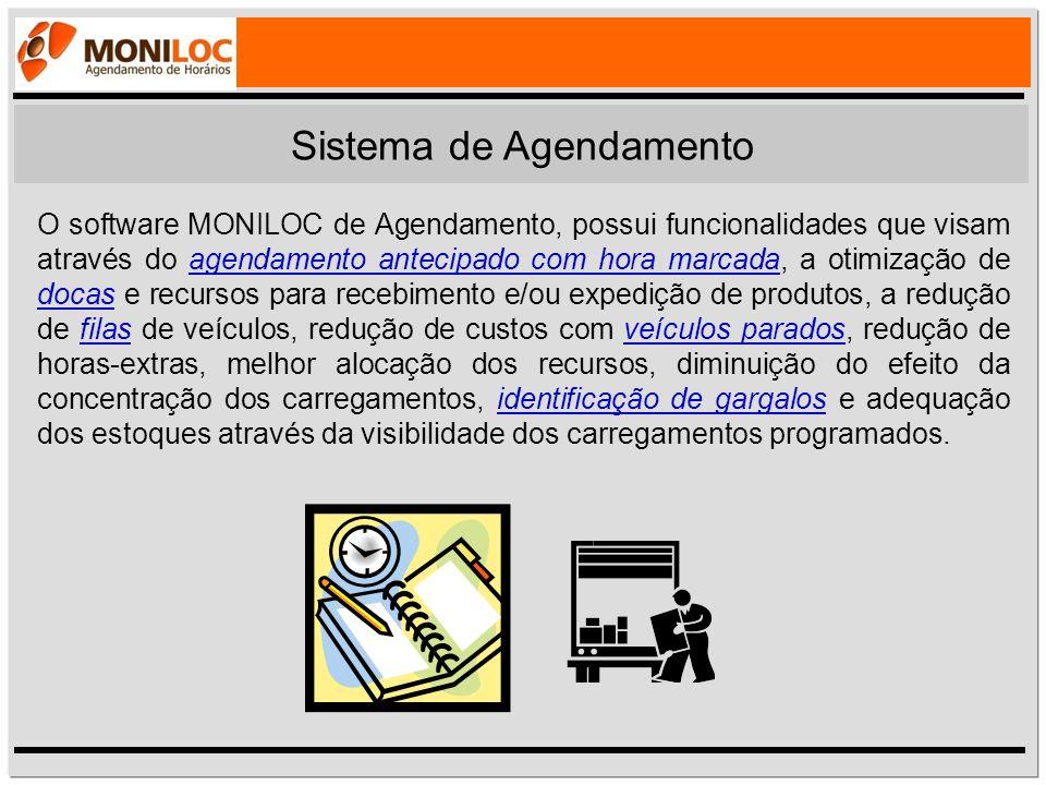 O software MONILOC de Agendamento, possui funcionalidades que visam através do agendamento antecipado com hora marcada, a otimização de docas e recurs