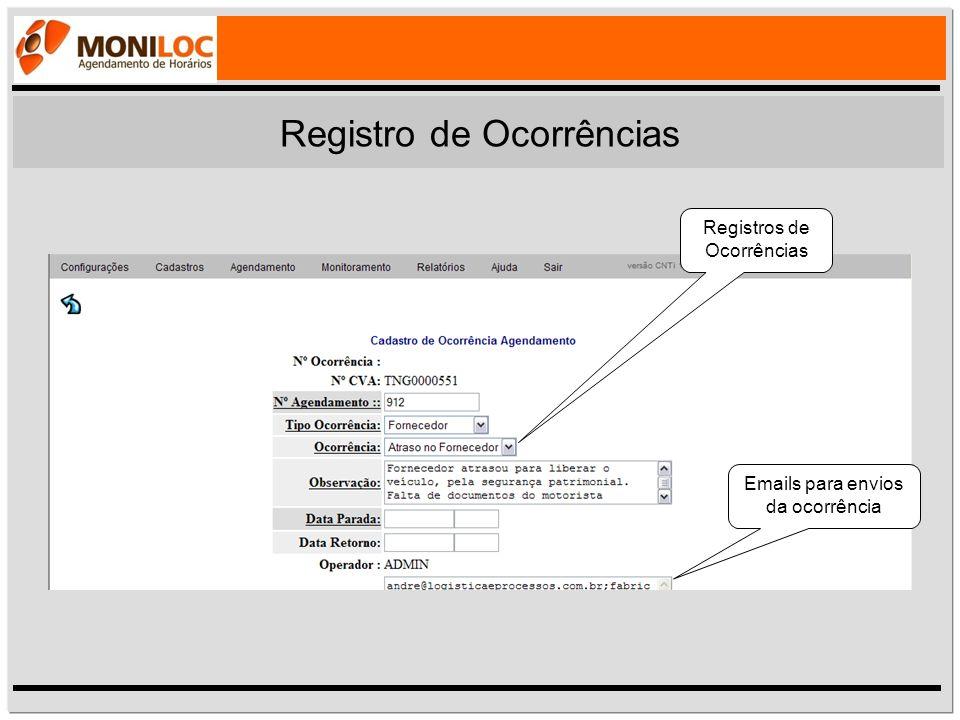 Registros de Ocorrências Emails para envios da ocorrência Registro de Ocorrências