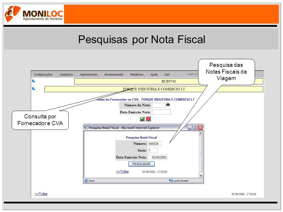Pesquisas por Nota Fiscal Pesquisa das Notas Fiscais da Viagem Consulta por Fornecedor e CVA