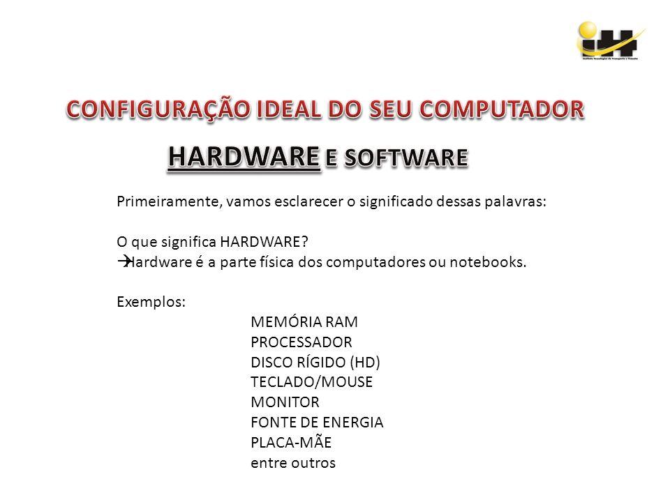 Primeiramente, vamos esclarecer o significado dessas palavras: O que significa HARDWARE? Hardware é a parte física dos computadores ou notebooks. Exem