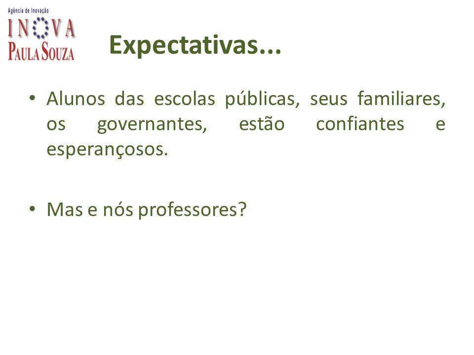 Expectativas... Alunos das escolas públicas, seus familiares, os governantes, estão confiantes e esperançosos. Mas e nós professores?