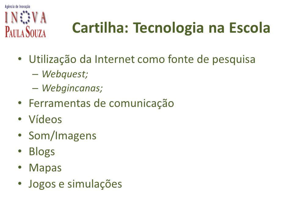 Cartilha: Tecnologia na Escola Utilização da Internet como fonte de pesquisa – Webquest; – Webgincanas; Ferramentas de comunicação Vídeos Som/Imagens