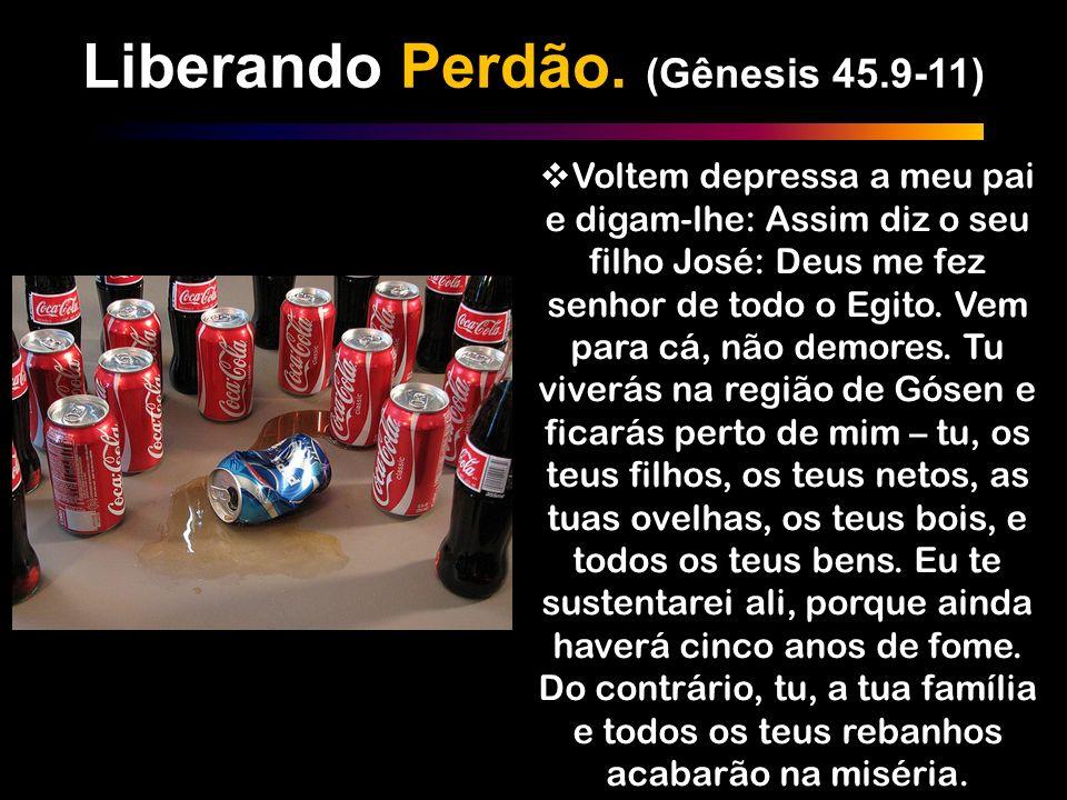 Liberando Perdão. (Gênesis 45.9-11) Voltem depressa a meu pai e digam-lhe: Assim diz o seu filho José: Deus me fez senhor de todo o Egito. Vem para cá
