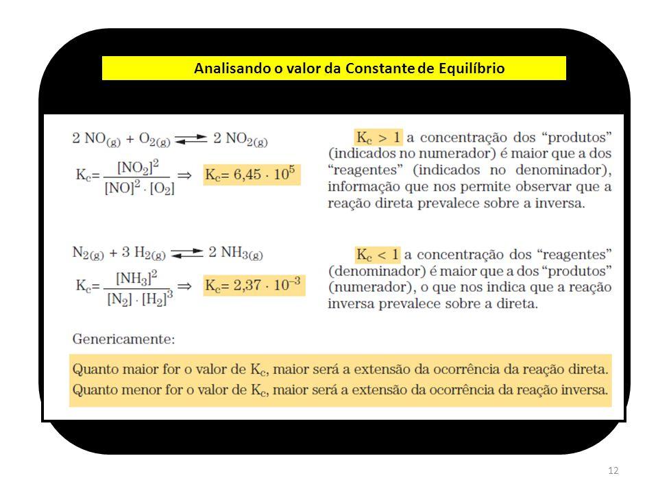 12 Analisando o valor da Constante de Equilíbrio