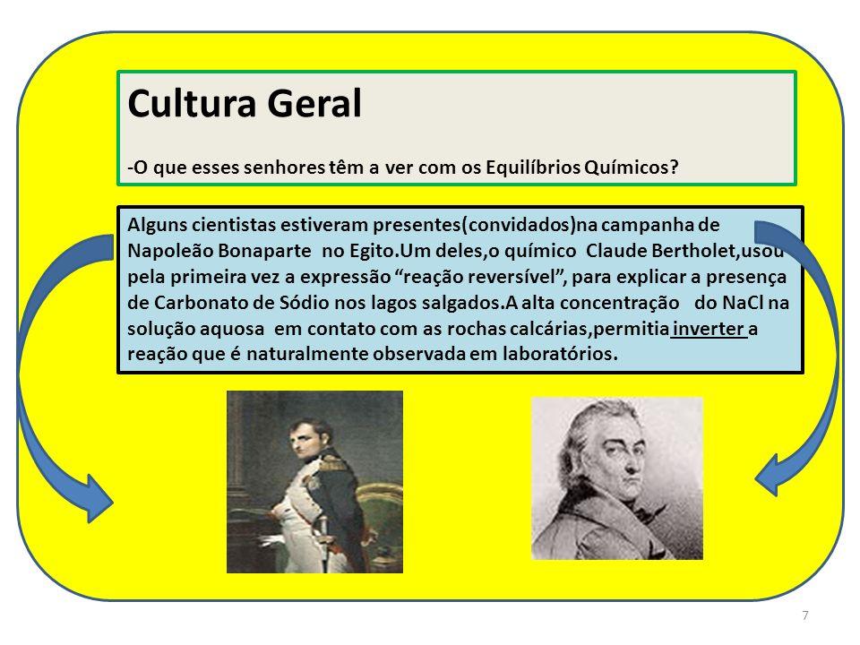 7 Cultura Geral -O que esses senhores têm a ver com os Equilíbrios Químicos? Alguns cientistas estiveram presentes(convidados)na campanha de Napoleão